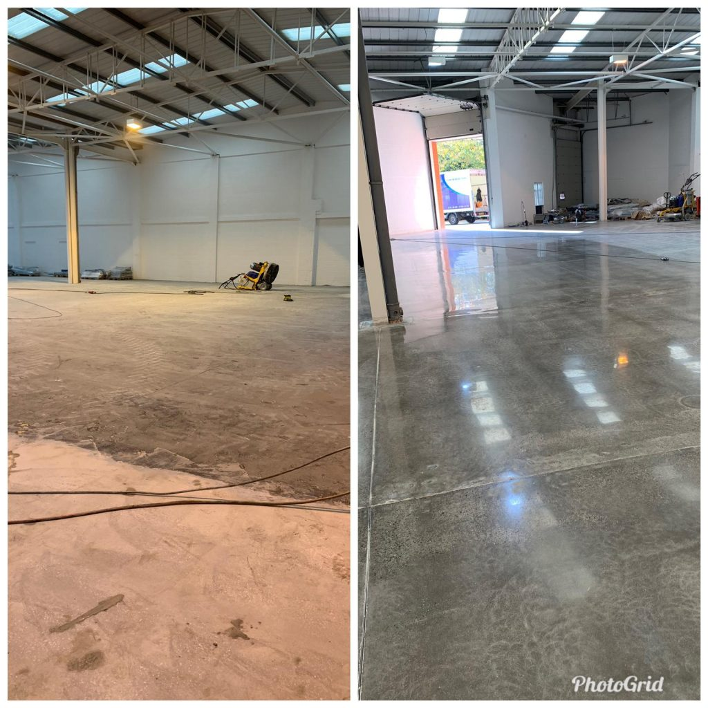 before and after polished concrete floors manchester & cheshire from nulife floorcare